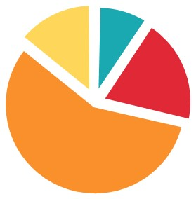 pie chart - charity overhead